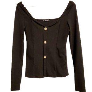 Shein Black Long Sleeve Ribbed Top, M